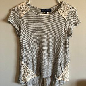 Cute Striped and Lacy T- Shirt